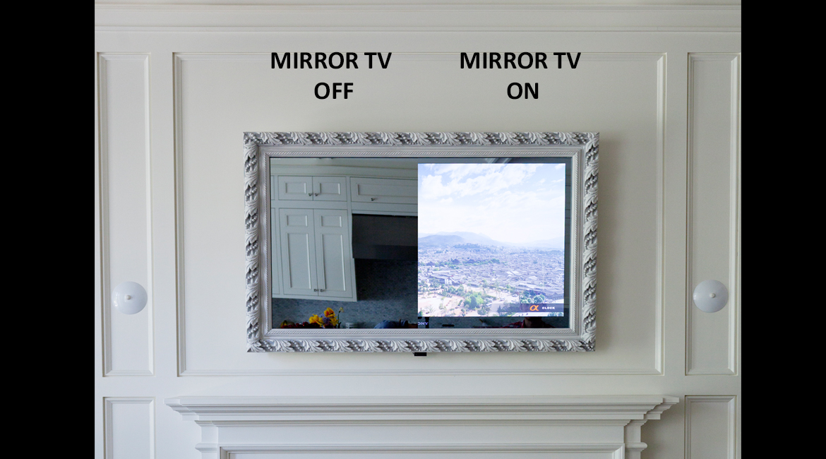 Framed vanishing mirror tv lumidesign for Mirror screen